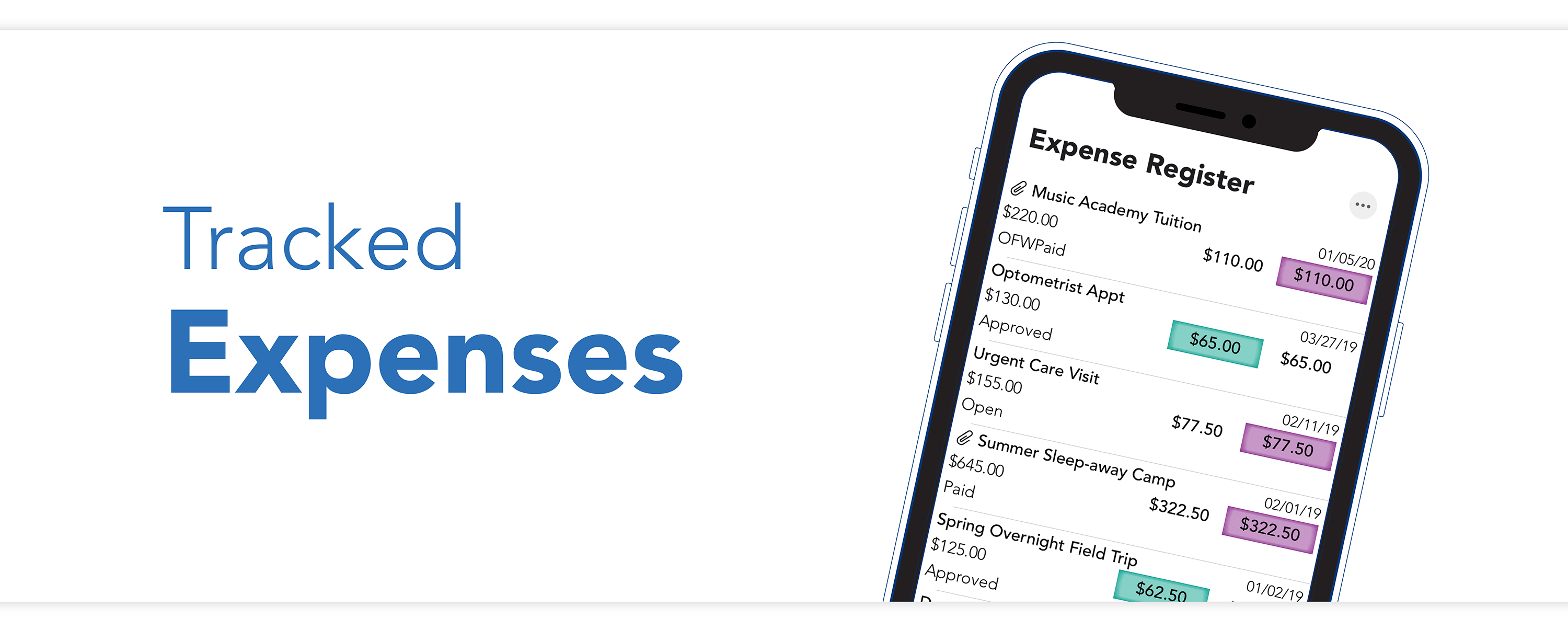 Track expenses, send payments, upload receipts in the expense register on the OFW co-parenting app.