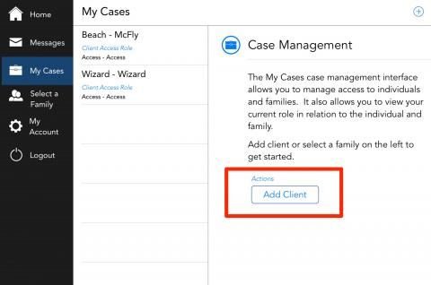 How do I create and request access to a new family?   OurFamilyWizard