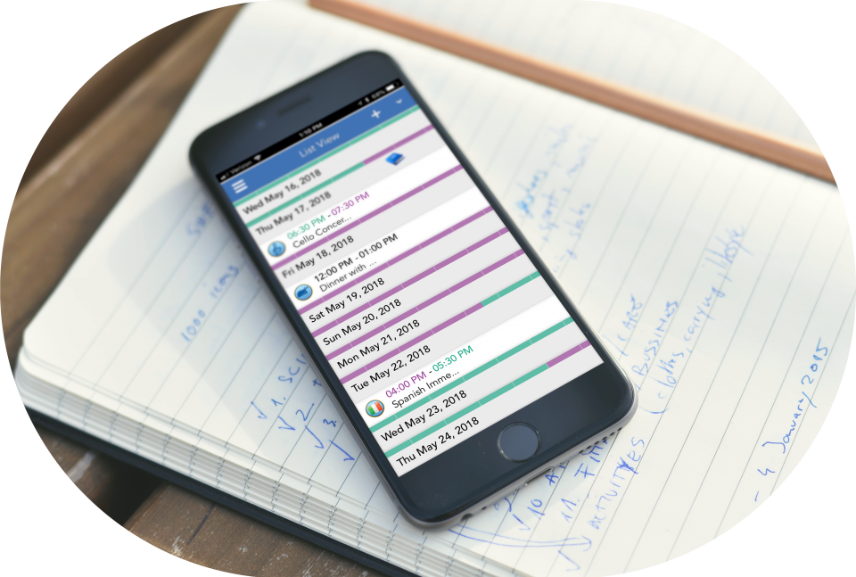 Viewing journals using the calendar list view in the iOS ofw app
