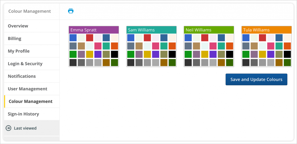 Assign family members different colours that will display in your parenting schedule, expense entries and more.